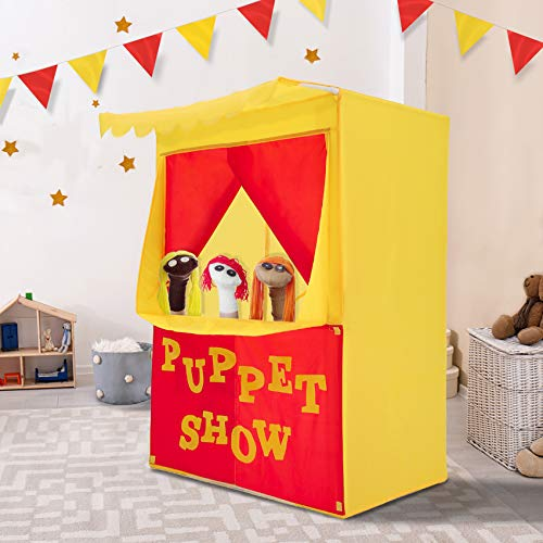 Alvantor Lemonade Stand Puppet Show Theater Pretend Playhouse Play Tent Kids on Stage Doorway Table Top Sets for Toddlers Curtain Fordable Rods Children Dramatic Furniture, 28X20X41H, Patent