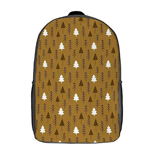 17 pulgadas comodidad mochila portátil portátil bolsa viaje viaje durante la noche bolsas con correa acolchada para damas, Bosque de invierno alpino en marrón (Blanco) - TB-ZXY-0wktd54xqxqs-1