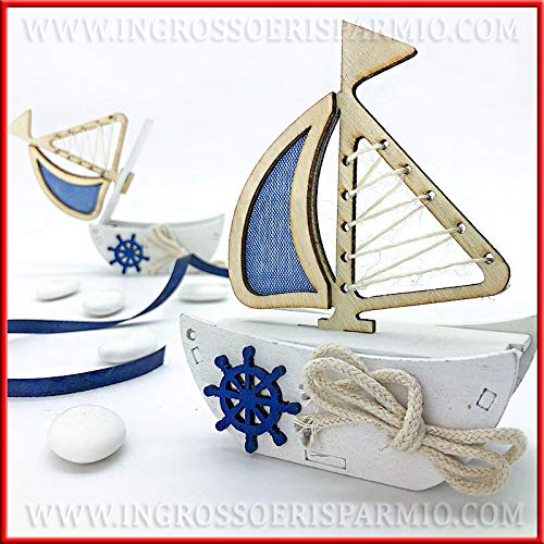 Ingrosso e Risparmio 6 Scatoline per Confetti a Forma di Barca a Vela in Legno con Inserto in Stoffa Blu e Vari Dettagli, Idee segnaposto, confettata Eventi Tema Mare (Senza confezionamento)