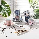 Easy Life 126 CMHO - Juego de 6 tazas de café de porcelana con...