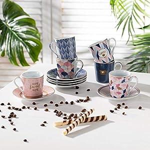 Easy Life 126CMHO - Juego de 6 tazas de café (porcelana), diseño de Mania Sweet Home, 0,1 litros, multicolor