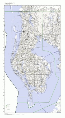Pinellas County, Florida FL ZIP Code Map Not Laminated