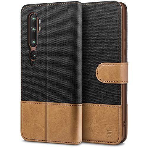 BEZ Handyhülle für Xiaomi Mi Note 10 Hülle, Tasche Kompatibel für Xiaomi Mi Note 10 / Xiaomi Mi Note 10 Pro, Schutzhüllen aus Klappetui mit Kreditkartenhaltern, Ständer, Magnetverschluss, Schwarz