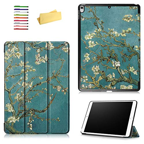UUCOVERS iPad Air 3 10.5 inch 2019/iPad Pro 10.5' 2017 Case, Van Gogh Oil Painting Smart PU Leather Stand Trifold Shockproof Folio Magnetic Cover with Auto Sleep/Wake, Green Almond Flower