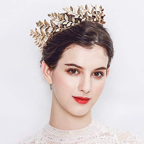 Bestyuan Leaf Gold Tiara Crown Headband Best Headband Leaf Crystal Headpiece Wedding Women Hair Accessories Prom Hair Dress Beads Hair Vine Floral Hair Vine Rhinestone Hair Vine(Gold)
