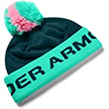 Under Armour Boys' Gametime Pom Beanie , Blackout Teal (461)/Blackout Teal , One Size Fits All