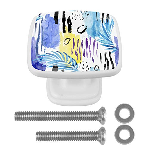 4 pomos de cristal para armario o cajón con tornillos para puerta de aparador, baúl o armario, cocina, baño, diseño vintage con hojas azules
