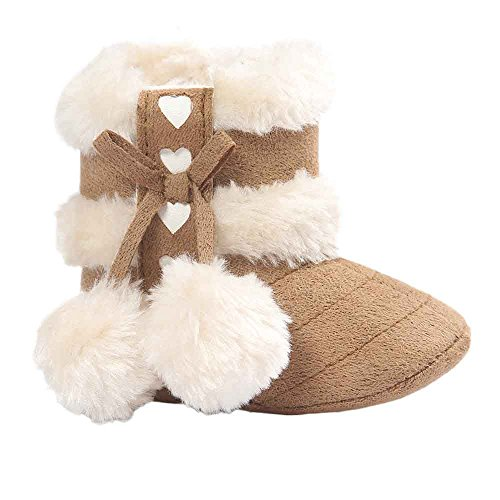 Tonsee Baby Stiefel für Mädchen,Soft Sole Snow Boots Babyschuhe Erstlingsschuhe Taufschuhe Babyschühchen 0-18 Monate (6~12 Monate, Khaki)