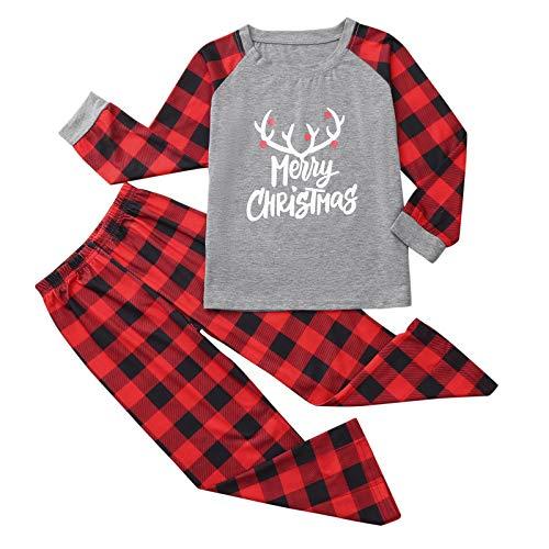 DEESEE(TM)_Home Christmas Pajamas Set, 2020 Xmas Letter Plaid Print Top Blouse+Pant Kit for Family (Kids,2 Years)