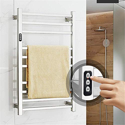 Wall Mounted Electric Towel Warmer with Built-in Timer Stainless Steel Heated Drying Rack Hardwired and Plug in Options Polished for Bathroom,Hardwired