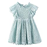 Colorfog Baby Girls Vintage Hollow Lace Pom Pom Trim Princess Birthday Party Dress Sundress (3T, Light Blue)