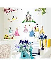 Kibi prinsessor väggklistermärken prinsessa Disney prinsessa väggklistermärken för flickor sovrum barnrum avtagbara väggklistermärken för flickor sovrum prinsessa dekorativ personlig