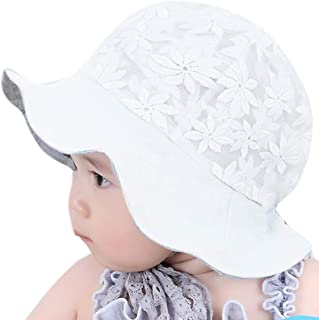 KINGSEVEN Cute Lace Flower Cotton Toddler Sun Hat Baby Breathable Sun Protection Hat Kid Wide Brim Cap Outdoor Beach Sun H...