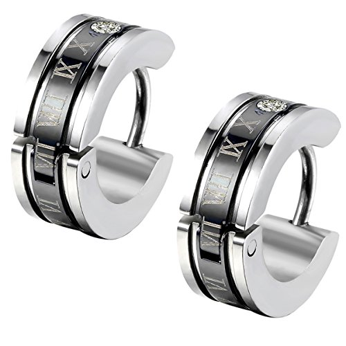 Flongo Men's Celtic Biker Stainless Steel Engraved Roman Numerals Polished Hoop Hinged Earrings, Classic Ear Plugs Huggie Earrings for Men Women