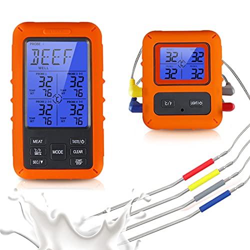 Ts-Tp40-A Termómetro Cocina Digital Termómetro de Alimentos Termometro Barbacoa para Horno Carne Comida Inalámbrico Termómetro de Cocina Termómetro Digital de Cocina Impermeable con Cuatro Sondas
