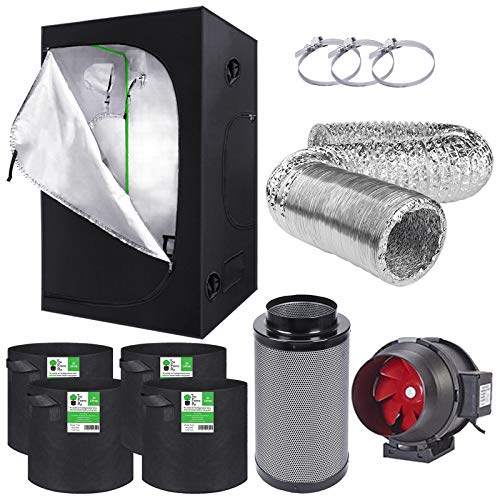 Compact Complete Grow Tent Kit 1m x 1m x 2m Carbon Filter Kit Fabric Pots Hydroponics