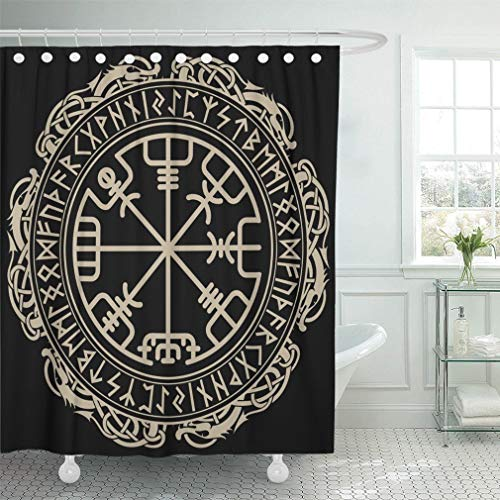Abaysto Black Celtic Viking Magical Runic Compass Vegvisir in The Circle of Norse Runes Bathroom Decor Shower Curtain Sets with Hooks Polyester Fabric Great Gift