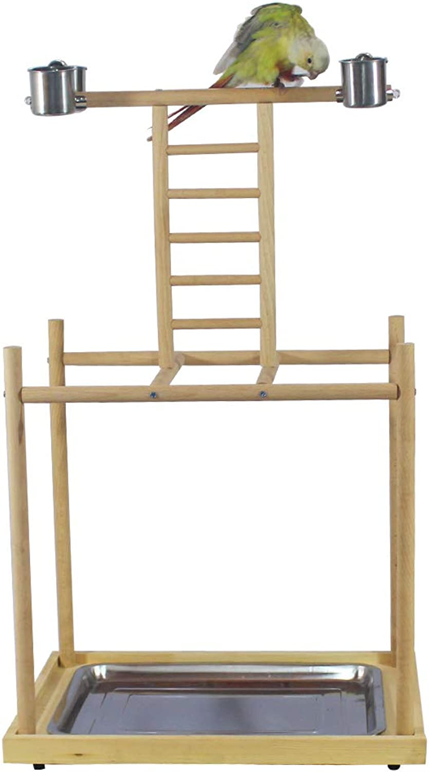 QBLEEV Parred Playstand Bird Play Gym Birdcage Stands Wood Feeder Cups Cage Perches Platform Ladder Playground Playpen for Small Medium Large Cockatiels Parakeets Conures
