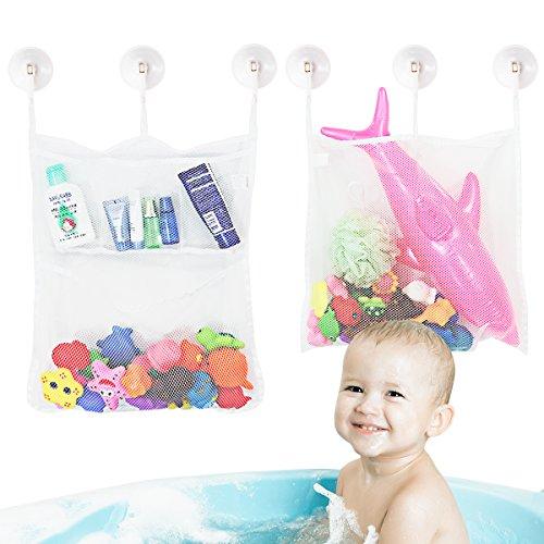 TOYMYTOY Baby Spielzeug Tasche Baby Spielzeug Organisator Badewanne Spielzeug Netz Badezimmer Lagerung Net 2 Stück mit 6 Saughaken
