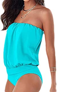 Women's Top Strapless Swimwear Solid Color Tube Sexy One Piece Swimsuit