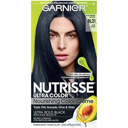 Garnier Nutrisse Ultra Color Nourishing Permanent Hair Color Cream, BL21 Blue Black (1 Kit) Black Hair Dye (Packaging May Vary)