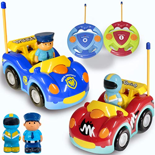 Haktoys Remote Control Cartoon Police Car and Race Car RC Radio Control Toys for Toddlers and Kids | Pack of 2 Cars in Different Frequencies - Two Players Can Play Together