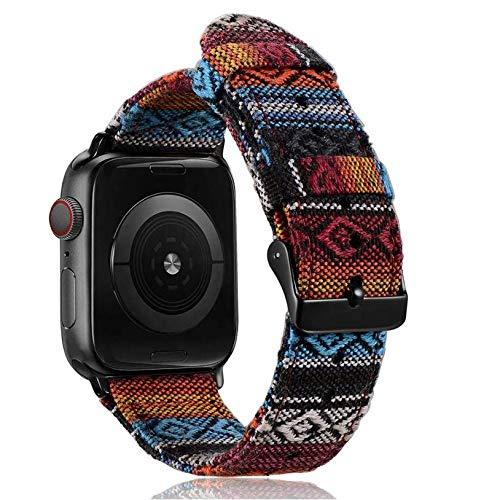 Stoffarmband Nylonarmband Stoff Nylon Armband für Apple Watch Ersatzarmband 38mm / 40mm für Series SE 6 5 4 3 2 1 bunt blau rot weiß Smart Watch Band