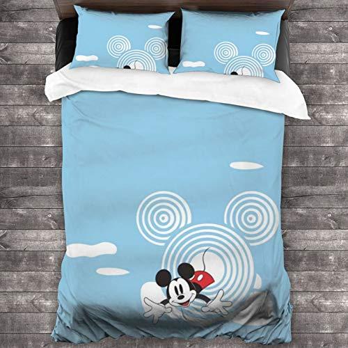 Juego de ropa de cama de microfibra con diseño de Mickey Minnie Mouse de 3 piezas, 2 fundas de almohada, colcha y hogar de 86 x 70 pulgadas