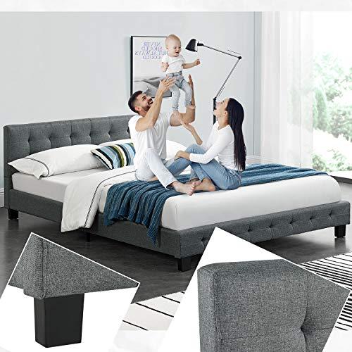 ArtLife Polsterbett Manresa 140 x 200 cm - Bett mit Lattenrost und Kopfteil - Zeitloses modernes Design, Grau