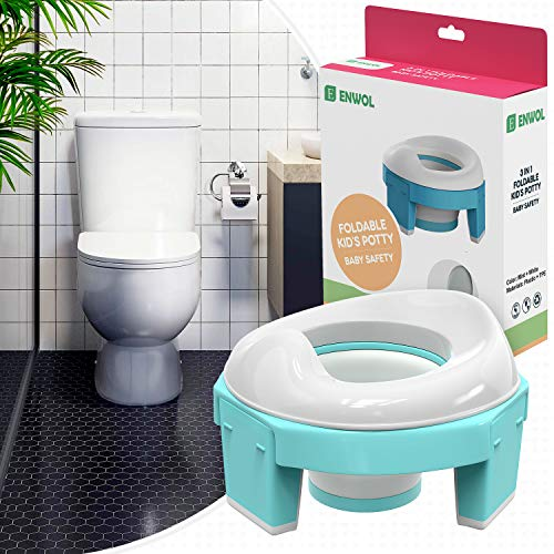Portable Potty Seat for Toddler Travel Potty for Car for Boys and Girls Portable Toilet for Kids with Anti Slips Legs Foldable Potty Chair Portable with Free Durable Storage Bag and Potty Stickers
