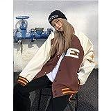 2021 Nueva Chaqueta de béisbol Unisex Chaqueta Bomber Mujer Chaqueta Hip Hop Peludo Hueso Remiendo de Color Bloque de Bloques de Bloques de Hombre Harajuku Streetwear