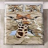 HYBWSO Funda De Edredón 3D Jirafa Animal óptico de ladrillo marrón Caqui Juego De Cama 100% De Microfibra,con Cierre 140cmx200cm Adecuado para habitación Infantil de Hotel.
