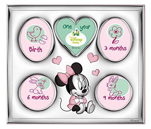 Disney Baby – Minnie Mouse – Cadre photo My First Year/My Family à 5 trous en argent, idéal comme cadeau de naissance ou d'anniversaire de petite fille