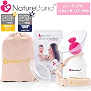 NatureBond Silicone Breastfeeding Manual Breast Pump Milk Saver Nursing Pump | All-in-1 Pump Strap, Stopper, Cover Lid, Carry Pouch, Air-Tight Vacuum Sealed in Hardcover Gift Box. BPA Free