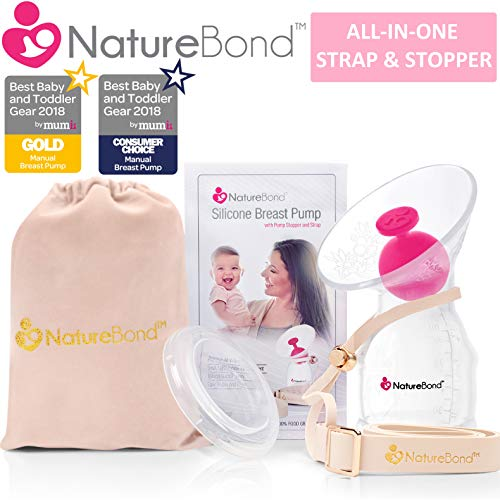 NatureBond Manual Breast Pump Silicone Breastfeeding Milk Saver Nursing Pump | All-in-1 Pump Strap, Stopper, Cover Lid, Carry Pouch, Air-Tight Vacuum Sealed in Hardcover Gift Box. BPA Free