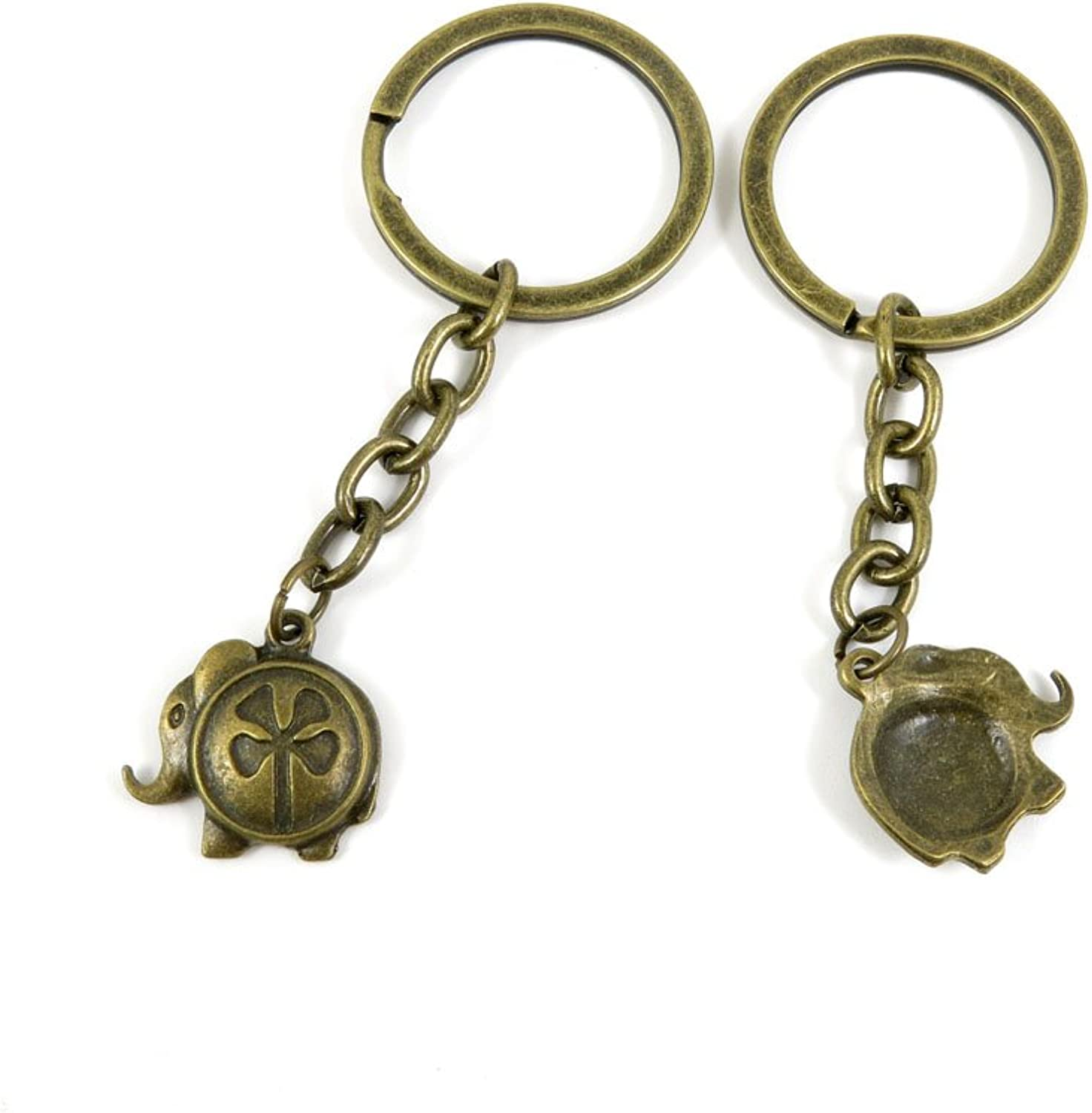 100 PCS Keyrings Keychains Key Ring Chains Tags Jewelry Findings Clasps Buckles Supplies P7GP8 Lucky Elephant