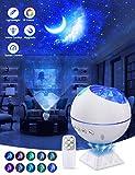OTTOLIVES Lámpara Proyector Estrellas, Luna estrella Nubes Lampara Proyector , 120° Rotación Músic Lampara con Temporizador led Pantalla y Control Remoto, Romántica luz de la Noche(Sin bluetooth)