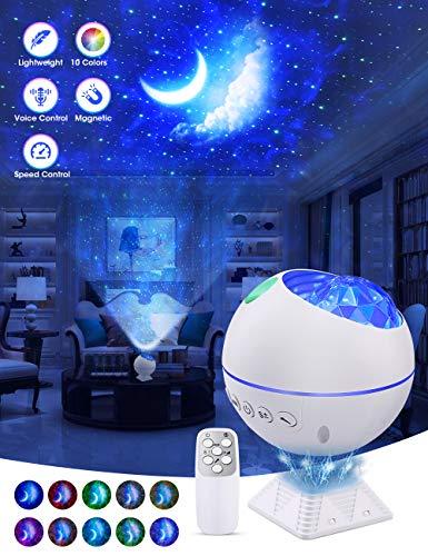 OTTOLIVES Mini LED Sternenhimmel Projektor Lampe, 120° Drehbarer Ferngesteuerter Nachtlicht Galaxy Nebelwolke Lichtprojektor für Autodekoration, Innendekorationen Kids Rooms(Mini weiß)