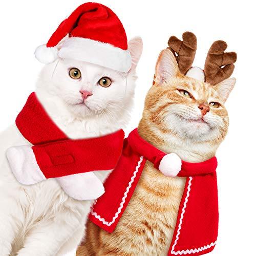 Whaline 4 Stück Weihnachts-Haustier-Stirnbänder Rentier-Geweih Stirnband Weihnachtsmannmütze Urlaub Schal und Umhang Haustier Kostüm Kopfbedeckung für Hund Welpen Katze