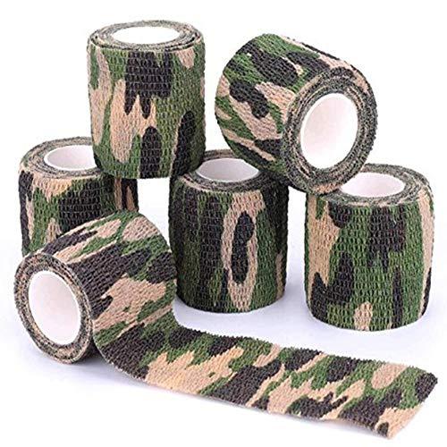 YAOBAO Camouflage Tape Zielfernrohr Wrap Militär Camo Stretch Bandage Gun Rifle Shotgun Camping Jagd Wiederverwendbare Selbstklebende (6 Rollen) Grün