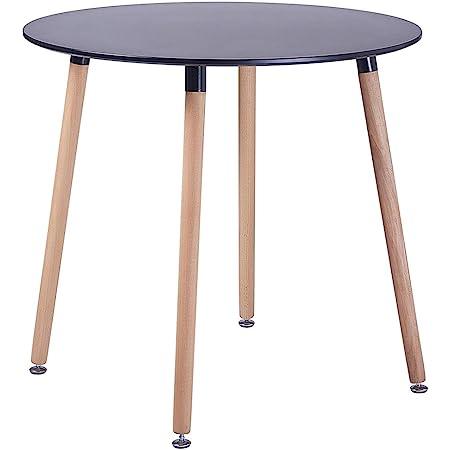 EGGREE Table Salle à Manger Ronde pour 2 4 Personne Table de Cuisine Scandinave Design, Pieds en Bois, 80x80x73cm Noir