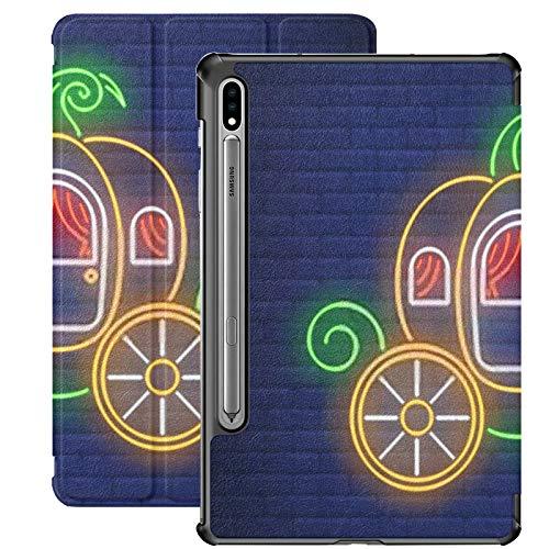 Galaxy Tablet S7 Plus Custodia da 12,4 pollici 2020 con portapenne S, carrozza zucca Insegna al neon Fairytale Autumn Slim Stand Custodia protettiva Folio per Samsung