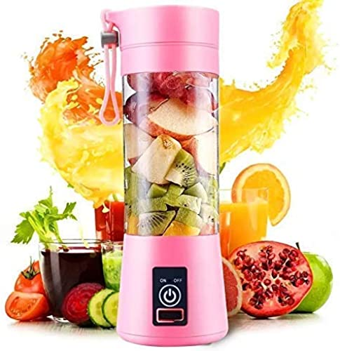 Amazon Brand Portable Blender Personal Size Electric Rechargeable USB Juicer Cup Fruit Mixer Machine With 4 Blades For Home And Travel 380 Ml Multicolor