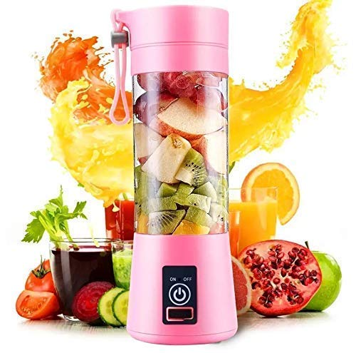TIMESOON Portable Electric USB Juice Maker Juicer Bottle Blender Grinder Mixer,4 Blades Rechargeable Bottle with (Multi color)