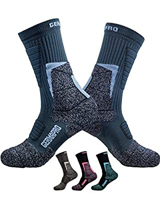 Mens Hiking Socks Outdoor Boot Work Socks w/ Anti-Odor-Blister Moisture Wicking Germanium & Coolmax All Season 2 pairs (XX-Large, 2-Blue-Pack)