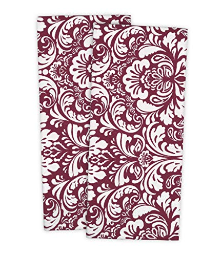 DII Cotton Damask Kitchen Dish Towels, 28 x 18' Set of 2, Low Lint Decorative Tea Towel for Everyday Cooking and Baking-Wine