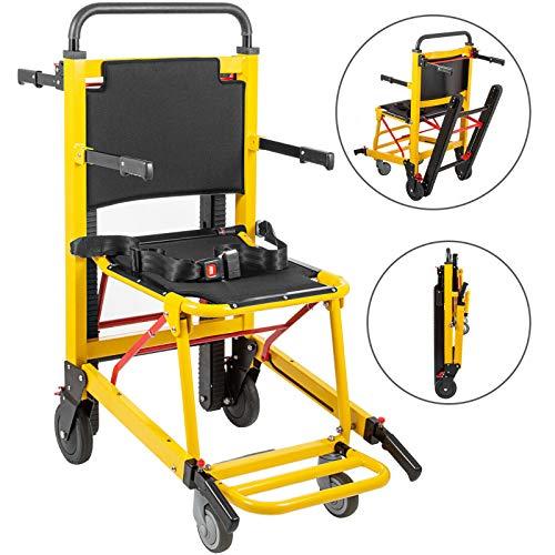 Hopopula 200W Elektrisch Rollstuhl Treppenlift Kletteraufzug Motorisierte Lithiumbatterie Klettern Crawler Elektrische Treppe Rollstuhl Aluminiumlegierung Faltbare Tragbare(Schwarz Gelb)