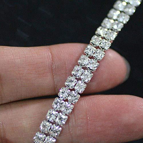 AUBERSIT Cadena de Adorno de Diamantes de imitación de Cristal de 2 Filas, Base Plateada para Prendas de Vestir, decoración del hogar, 2 Filas, 2Yardas