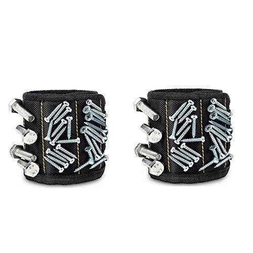 2 Magnetic Wristband Tool Belt Holder-Black Wrist Magnetic Screw, Nails, Drill Bits Holder for Handyman-15 Strong Magnets each Wristband-Ideal Magnetic Bracelet Tool Gift for Men