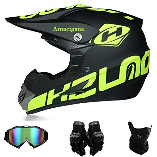Amacigana® Motocross Helme Downhill Helme Motorrad Crosshelme & Endurohelme Jugend Kinder Offroad Helm Motocross Gear Combo Mask Brillenhandschuhe (Style #01, S)